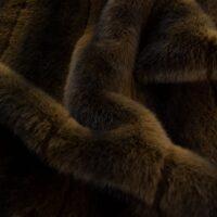 Imitatiebont Natuurlijke bruin konijn imitatiebont stof per meter – 3125 Brown/Dk.Brown